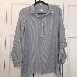 Blur & white striped tunic top